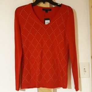 Nwt Tommy HILFIGER Red with gold pullover S